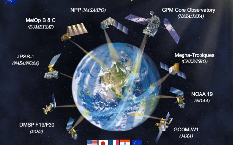 As the world turns, the NASA–JAXA core research satellite will be launched as part of the Global Precipitation Mission, orbiting Earth along with other internationally launched satellites to provide global rain and snow data at three-hour intervals. Courtesy NASA